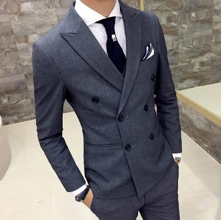 (سترة + بنطلون) العلامة التجارية الجديدة الراقية بلون الأعمال الرسمية مزدوجة الصدر بوتيك بدلة رجالي/مأدبة الزفاف الرجال الدعاوى