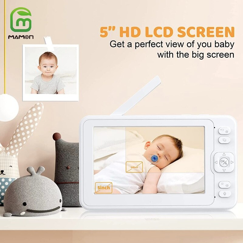 MAMON Baby Monitor Video and Audio with Camera 1080P 5