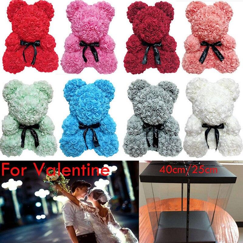 40cm 25cm valentine rosa urso coração flor presente para a namorada aniversário casamento artificial festa decoração de casa vermelho rosa ursinho