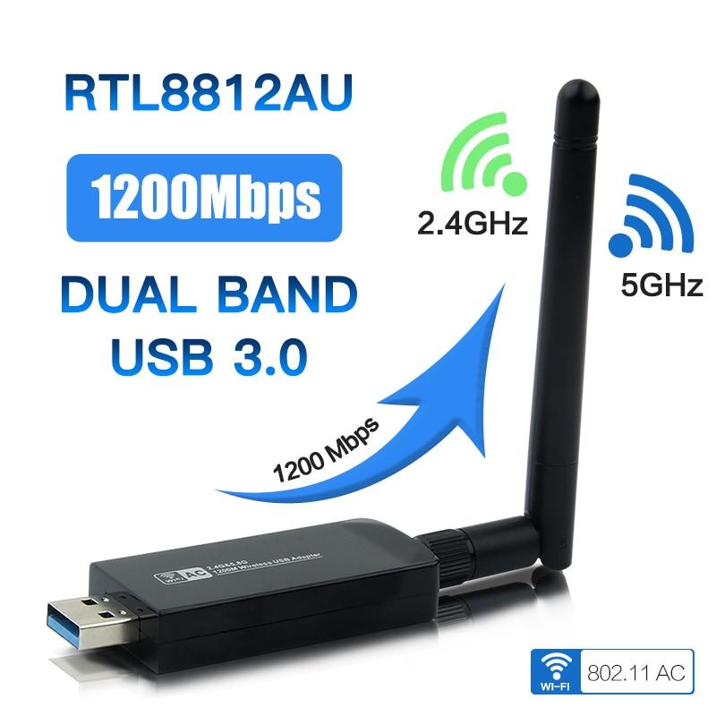 Двухдиапазонный беспроводной адаптер AC1200 Wlan USB 3,0 RTL8812AU, USB Wi-Fi, 802.11ac с антенной для ноутбуков и настольных ПК
