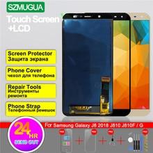 شاشة تعمل باللمس محول الأرقام لسامسونج غالاكسي J8 2018 J810 J810F J810G SM-J810F/G/DS LCD عرض 1280x720 6 TFT LCD