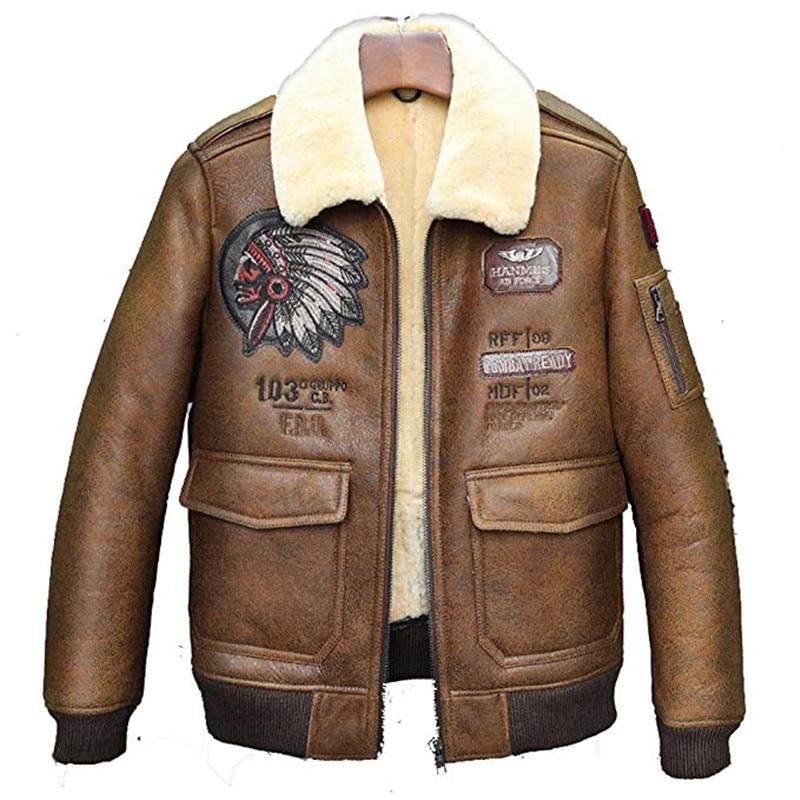Prendas de vestir de piel de oveja de invierno para hombre chaqueta B6 Bomber Flight Coat Chief Patch chaqueta de Aviador chaqueta de piloto para hombre abrigo de piel