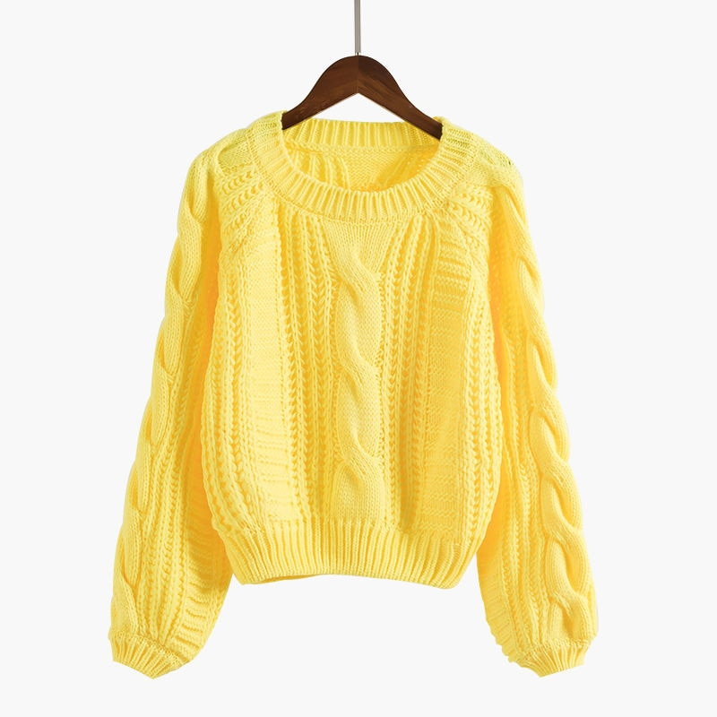 Roupas femininas Women Pull Sweaters 2020 New Yellow Sweater Jumpers Candy Color Harajuku Chic Short Sweater Twisted Pull
