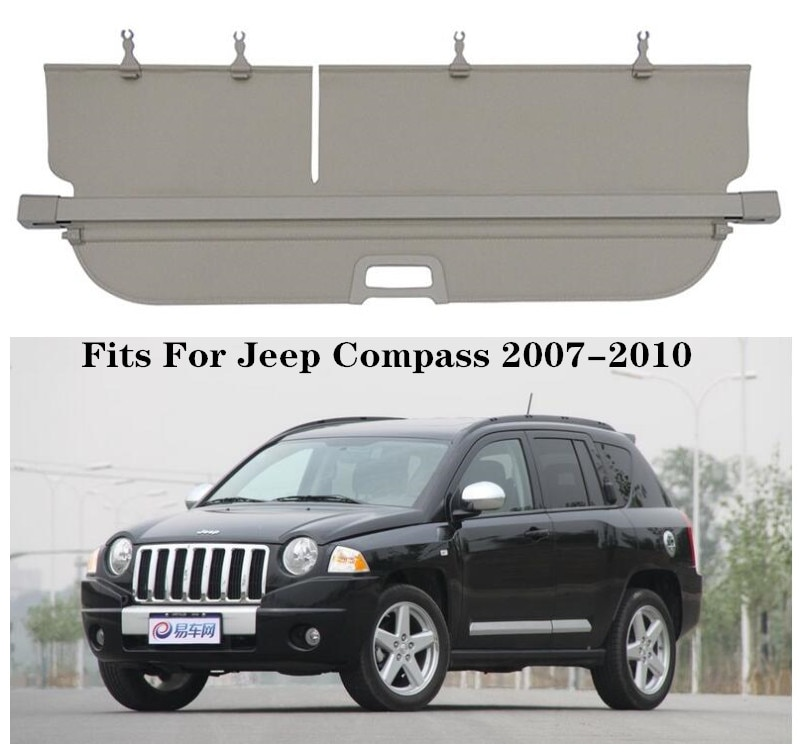 High Qualit Car Rear Trunk Cargo Cover Security Shield Screen shade Fits For Jeep Compass 2007-2010(black, beige)
