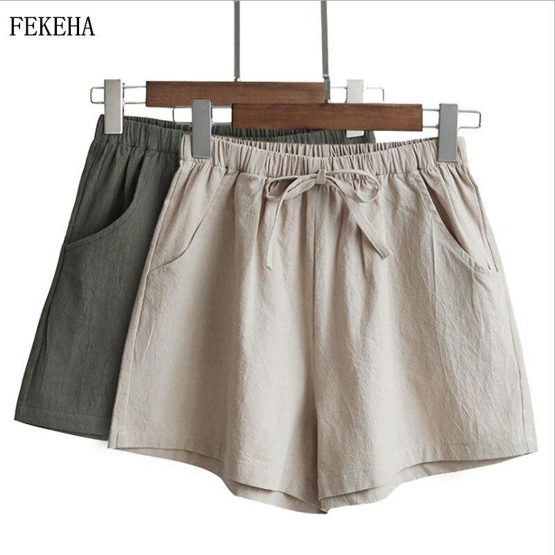 Summer Shorts Women Casual Cotton Linen Loose High Waist Shorts Comfortable Streetwear Women's Shorts