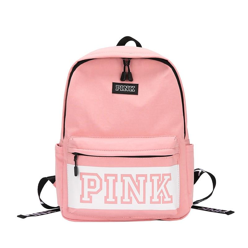 حقيبة ظهر مقاومة للماء من النايلون للنساء ، حقيبة مدرسية بسيطة ، لون وردي عادي ، سعة كبيرة للمراهقين