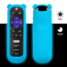Custodia protettiva per TCL Roku TV steamer remote stick 3600R cover in Silicone con orecchie di Panda telecomando antiurto Skin