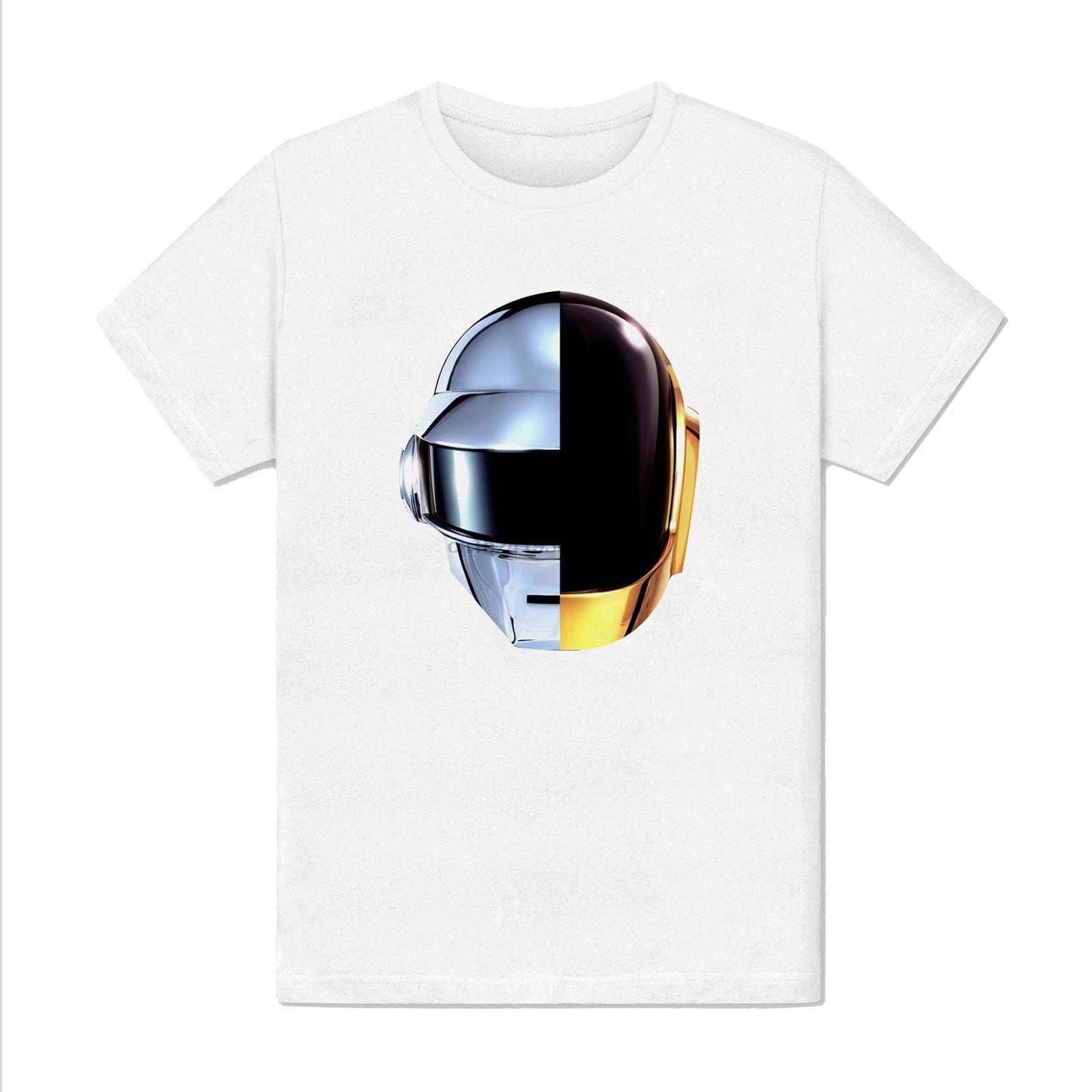 Футболка Homme Blanc-Daft, панк, Casque Harder Better Faster strong Musique, футболка с коротким рукавом, модная футболка