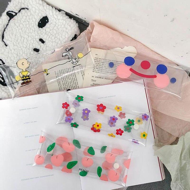 1 Pcs Kawaii Transparent Blume Pfirsich Lächeln Gesicht Druck Bleistift Taschen Hohe Kapazität Mäppchen Kosmetik Tasche Tasche Schreibwaren