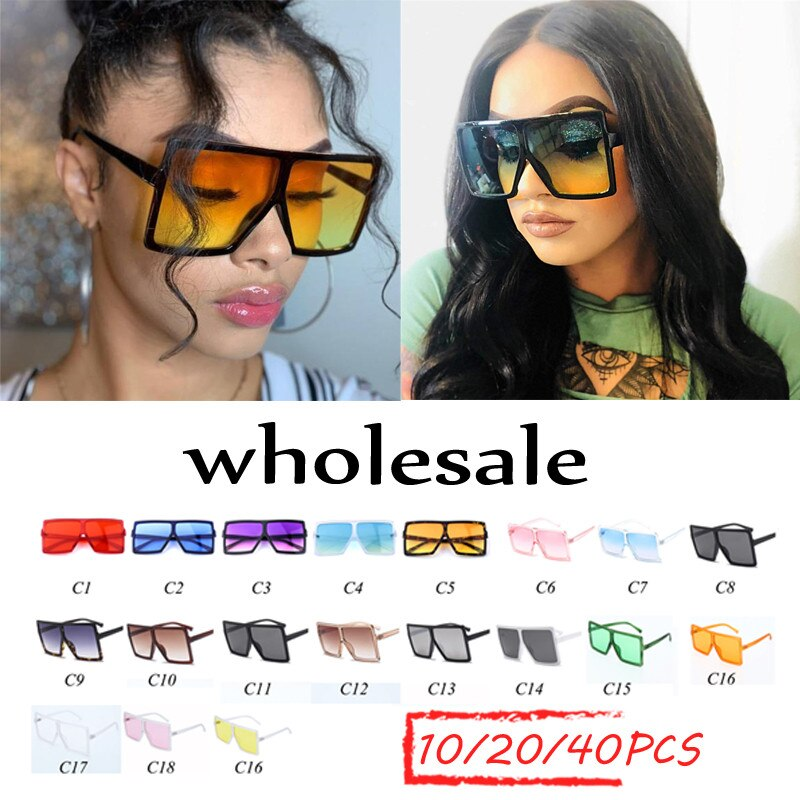 Atacado oversized óculos de sol feminino 2020nova marca de luxo óculos de sol na moda plana topo vermelho claro lente do vintage homens gradiente tons