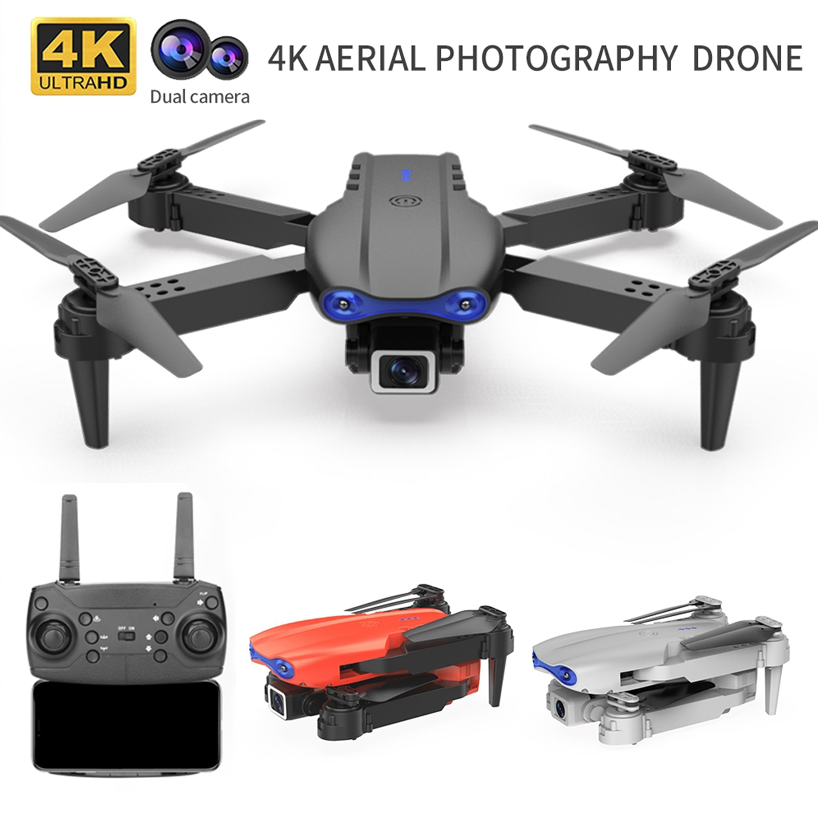 2021 NEW K3 Drone 4K HD Wide-angle Dual Camera WIFI FPV RC Drone Follow Me RC Quadcopter Toys RC Helicopter w/ Camera Selfie