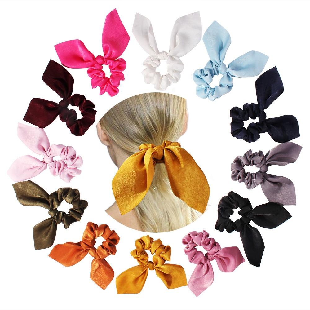 New Women Headband Ribbon for Girls Elastic Hair Band Lovely Bow Rabbit Ear Hair Ropes Ties for Children Hair Accessories 2021