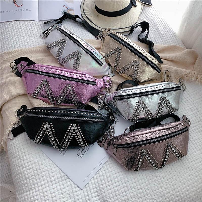 Las nuevas mujeres de bolso de la cintura de cuero Fanny Pack banana de moda bolsas de alta capacidad paquete pecho Cinturón Negro Bolsa riñón bolsos