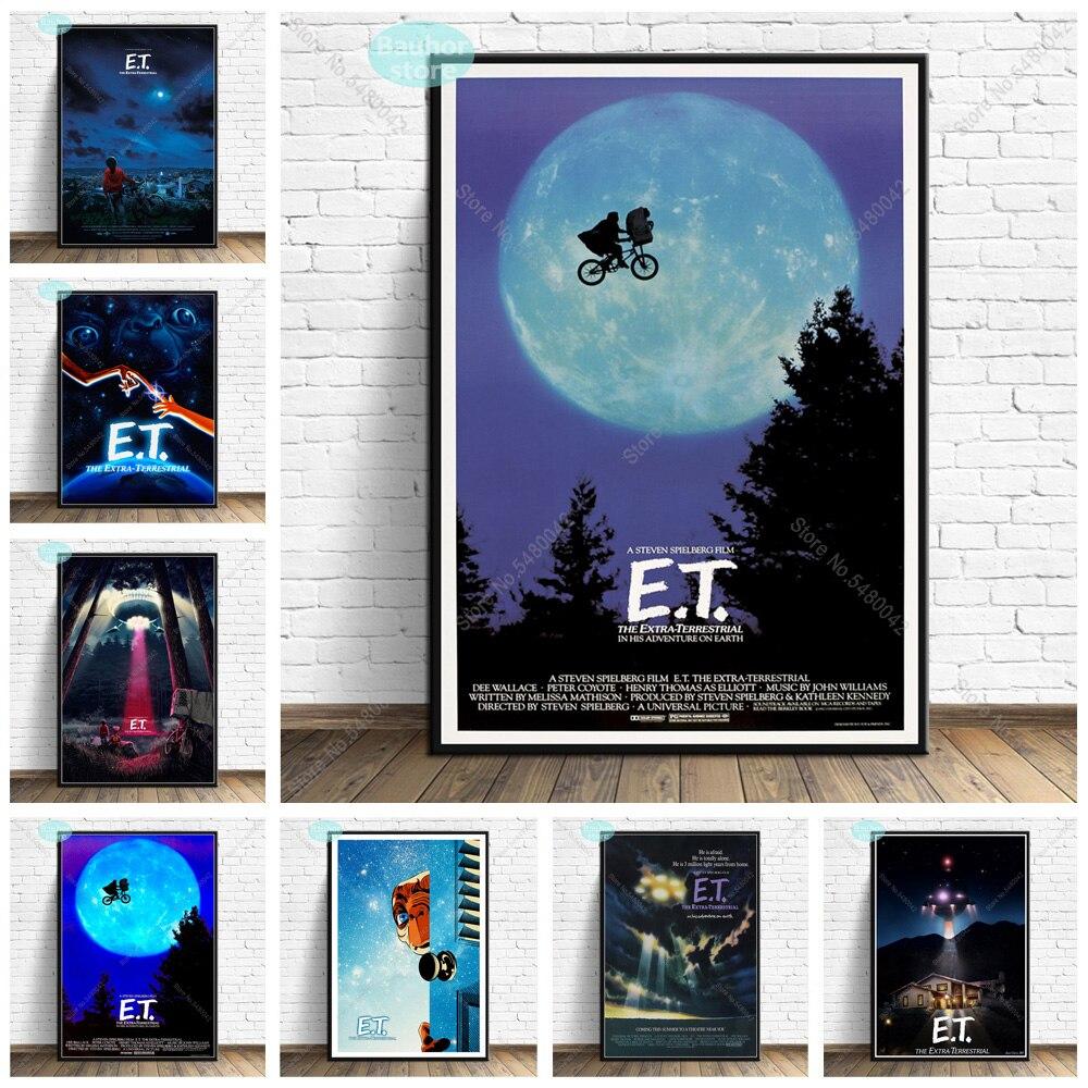 Poster de arte e.t. Et 1982 clássico filme de ficção científica os posters e impressões extra-terrestres quadros de parede pintura em tela para casa arte