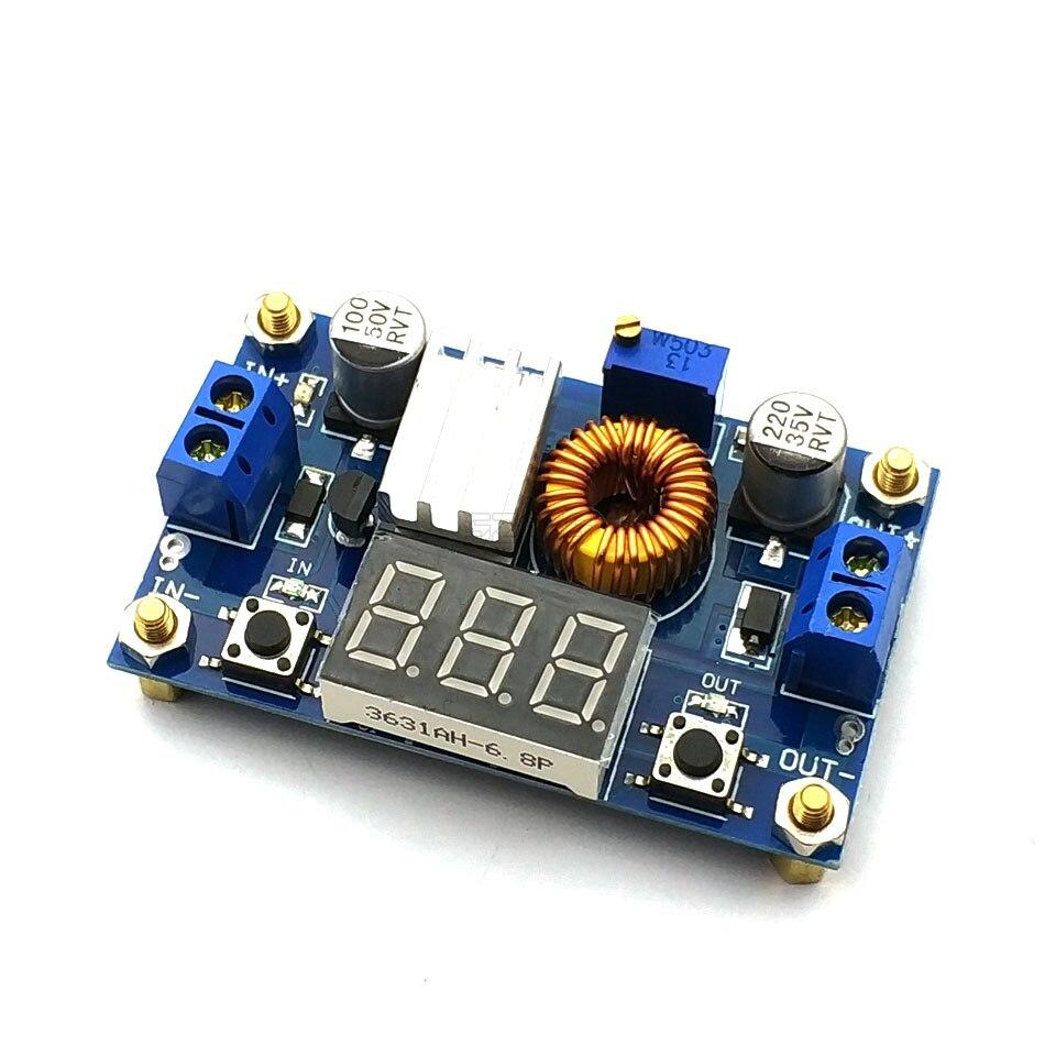 Módulo reductor ajustable XL4015 5A de alta potencia 75W DC-DC + módulo de fuente de alimentación de voltímetro LED