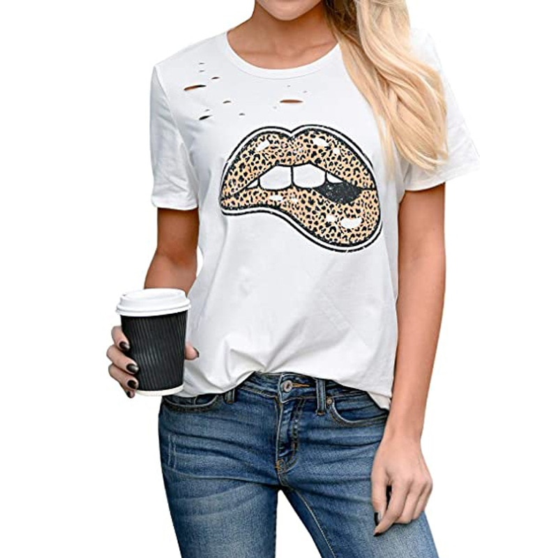 leopard print lace trim plus size tee tops women 2020 Leopard lips print Hole t shirt women O-Neck Short Sleeve Funny tshirt Plus Size female t-shirt harajuku Tee Top