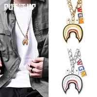 big shark pendant necklace men hiphop street culture titanium stainless steel fashion trendy chain necklace man jewelry gift