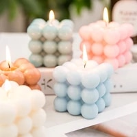 pillar birthday candles color white bubble candle square pink candle holders bubble candle swieczki romantic decoration 50lz