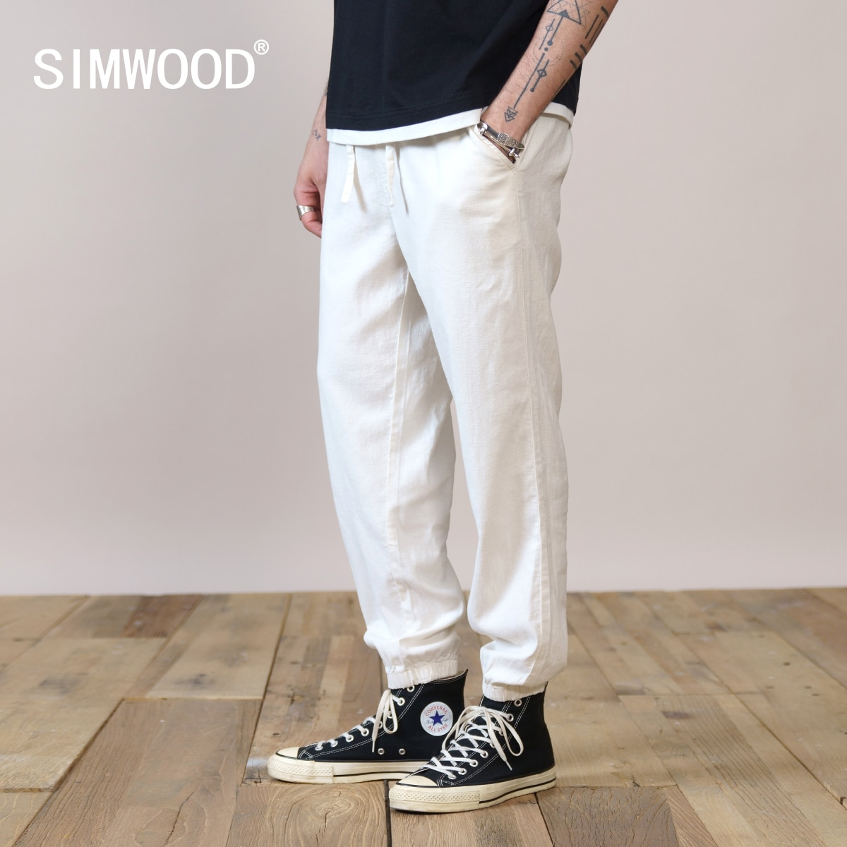 SIMWOOD 2021 Summer New Oversize Linen Blend Drawstring Pants Men Ankle-Length Loose Trousers Plus Size Brand Clothing SK130228