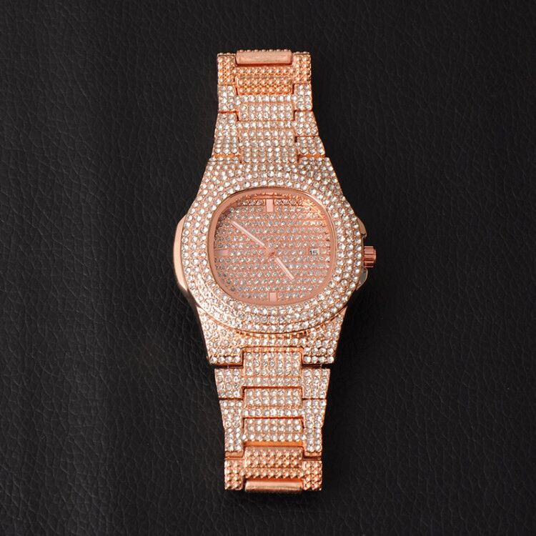 Iced Out Mens Watches Luxury Date Quartz Wrist Watches With Micropave CZ Stainless Steel Hip Hop Watch For Women Men Jewelry enlarge