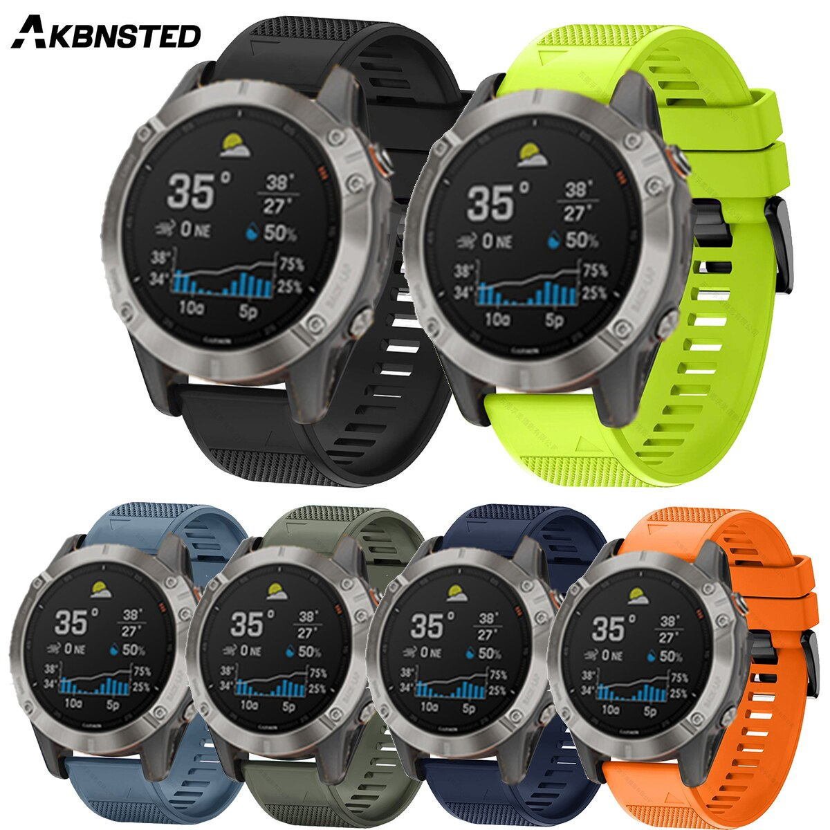 AKBNSTED 20 22 26MM, correa de silicona de liberación rápida para relojes Garmin Fenix 6S Pro Fenix 6 Pro Fenix 5 Fenix5S Fenix 3 Forerunner945