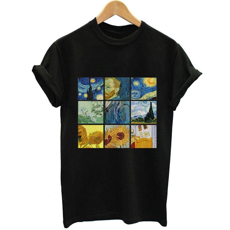 Nueva camiseta de Mujer Van Gogh Lattice estampado lindo de talla grande camiseta femenina Casual Harajuku Angel Black Camisetas Mujer