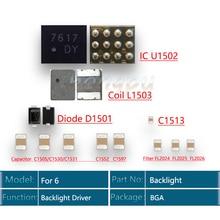 12 stks/set achtergrondverlichting Driver IC voor iPhone 6 Backlight oplossingen Kit IC U1502 + Coil L1503 + Diode D1501 + condensator C1530/C1531/C1505 + Filter FL2024/FL2025/FL2026