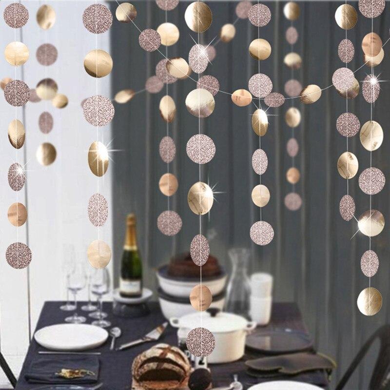 Decoração do casamento 4 m ouro prata estrela forma redonda guirlandas de papel chuveiro do bebê festa de aniversário decorações crianças suprimentos de natal