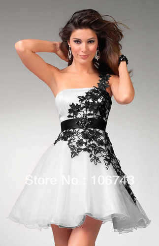 free shipping brides 2016 New Custom Sexy Short Black and White Short Prom Homecoming gown Party Dress short wedding dresses