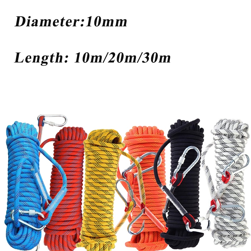 10mm 10/20/30m Climbing Rope Hook High Strength Emergency Safety Hiking Rope Camping Rescue Rope Outdoor Survival Tool