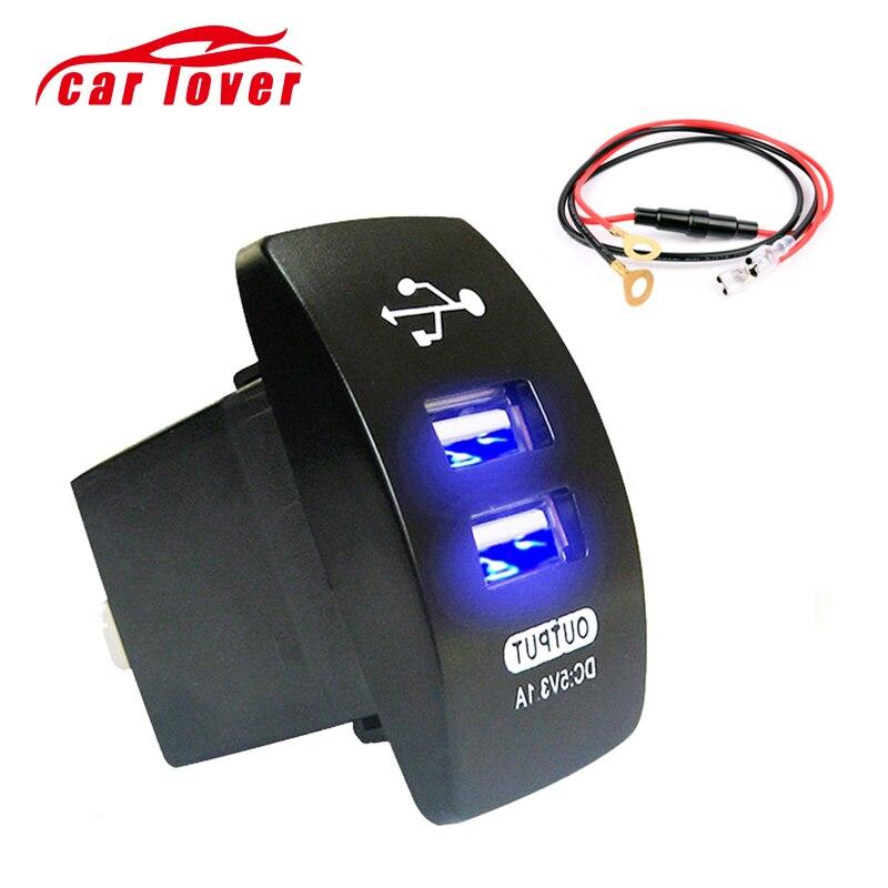 Cargador basculante USB Dual de 12-24 V, interruptor basculante 5V 3.1A, Cargador Universal de teléfono móvil para coche, motocicleta, barco eléctrico