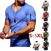 New Plus Size T Shirt Men Fashion Fit T Shirt Men trend V Neck Custom brand Short Sleeve Tees Tops Arm zipper T-Shirts Male SA-8
