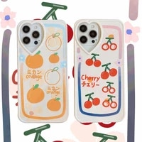 kawaii japanese fruit cherry orange phone case for iphone 12 11 pro max xr x xs max 7 8 puls se 2020 cases soft silicone cover