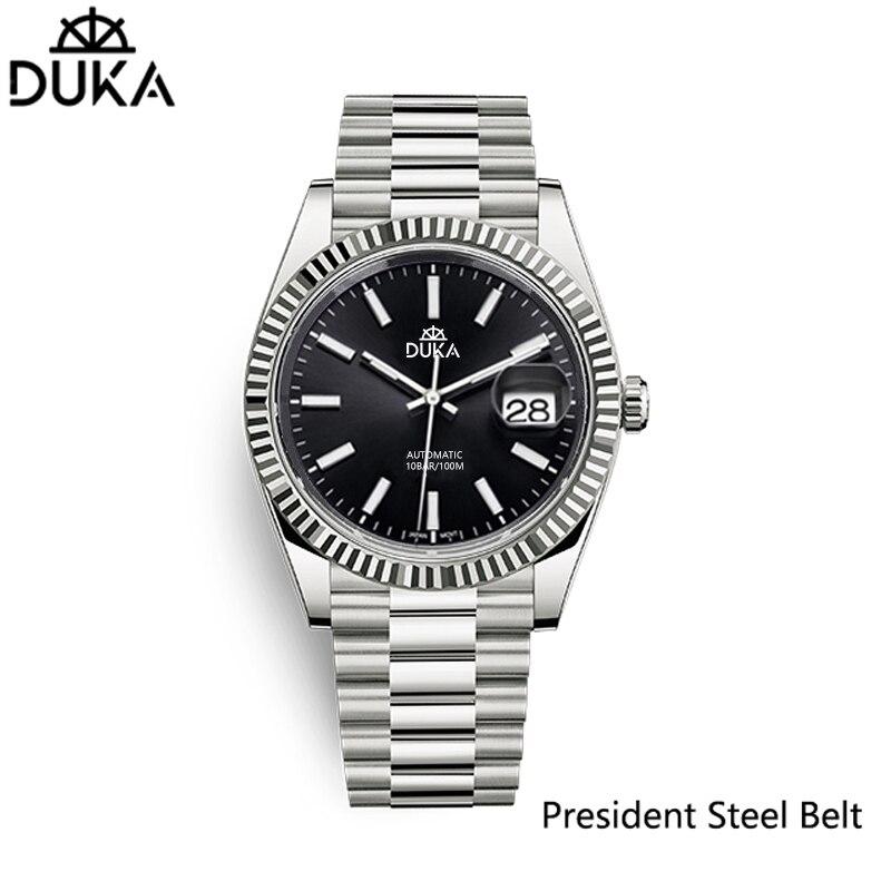 جديد DUKA ساعة معصم الرجال التلقائي ساعات آلية مقاوم للماء الفولاذ المقاوم للصدأ الرجال ساعة الأعمال الياقوت Relogio Masculino