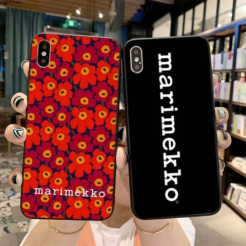 HPCHCJHM Marimekko flor azul recién llegado negro Funda de teléfono móvil para iPhone 11 pro XS MAX 8 7 6 6S Plus X 5S SE 2020 XR funda