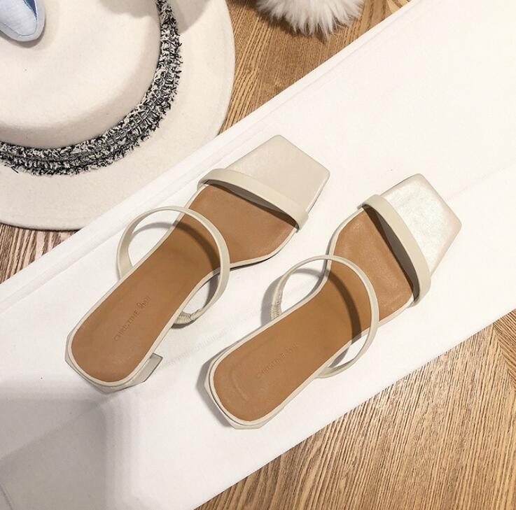 Brand new 2020 summer mid-heel women sandals and slippers fashion thick-heel square-toe flip flops and half-wear ms slippers