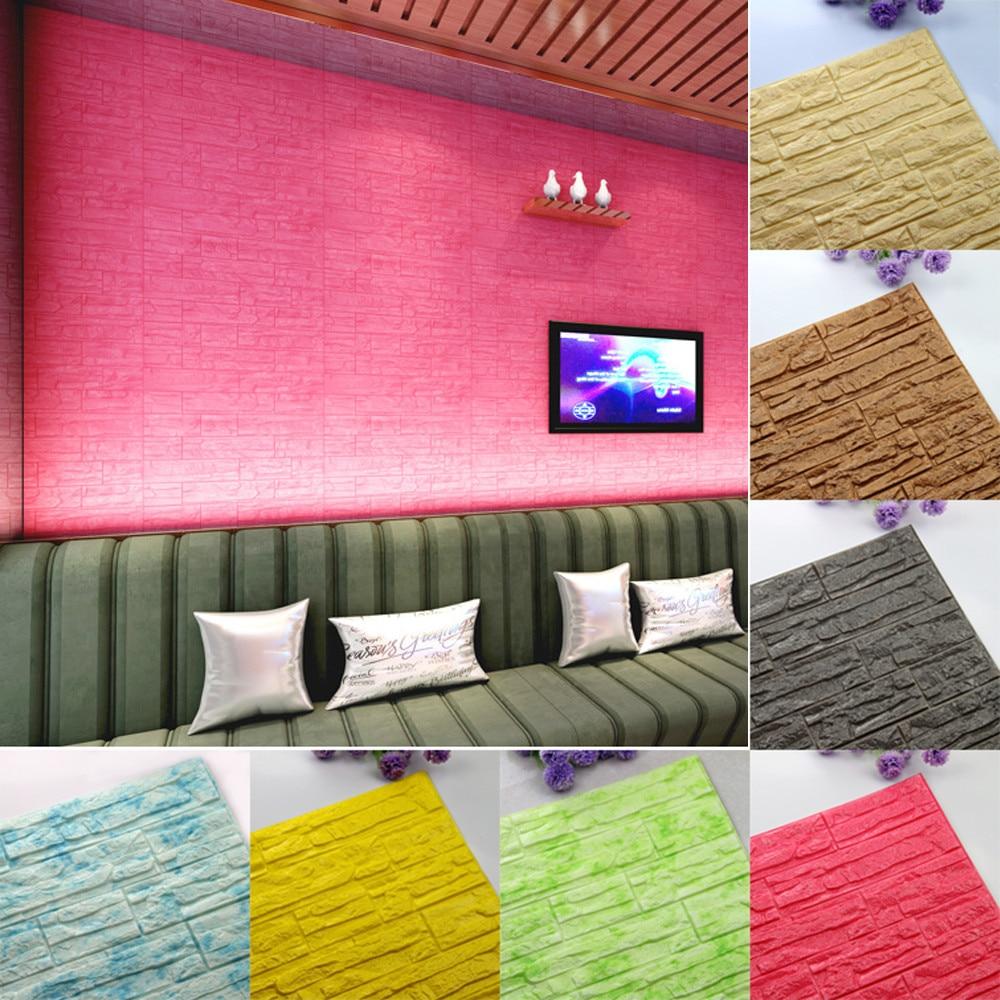 Multicolor PE espuma 3D paneles de papel de pared habitación DIY pegatinas de pared decoración en relieve ladrillo piedra papel pintado niños dormitorio decoración pegatinas #