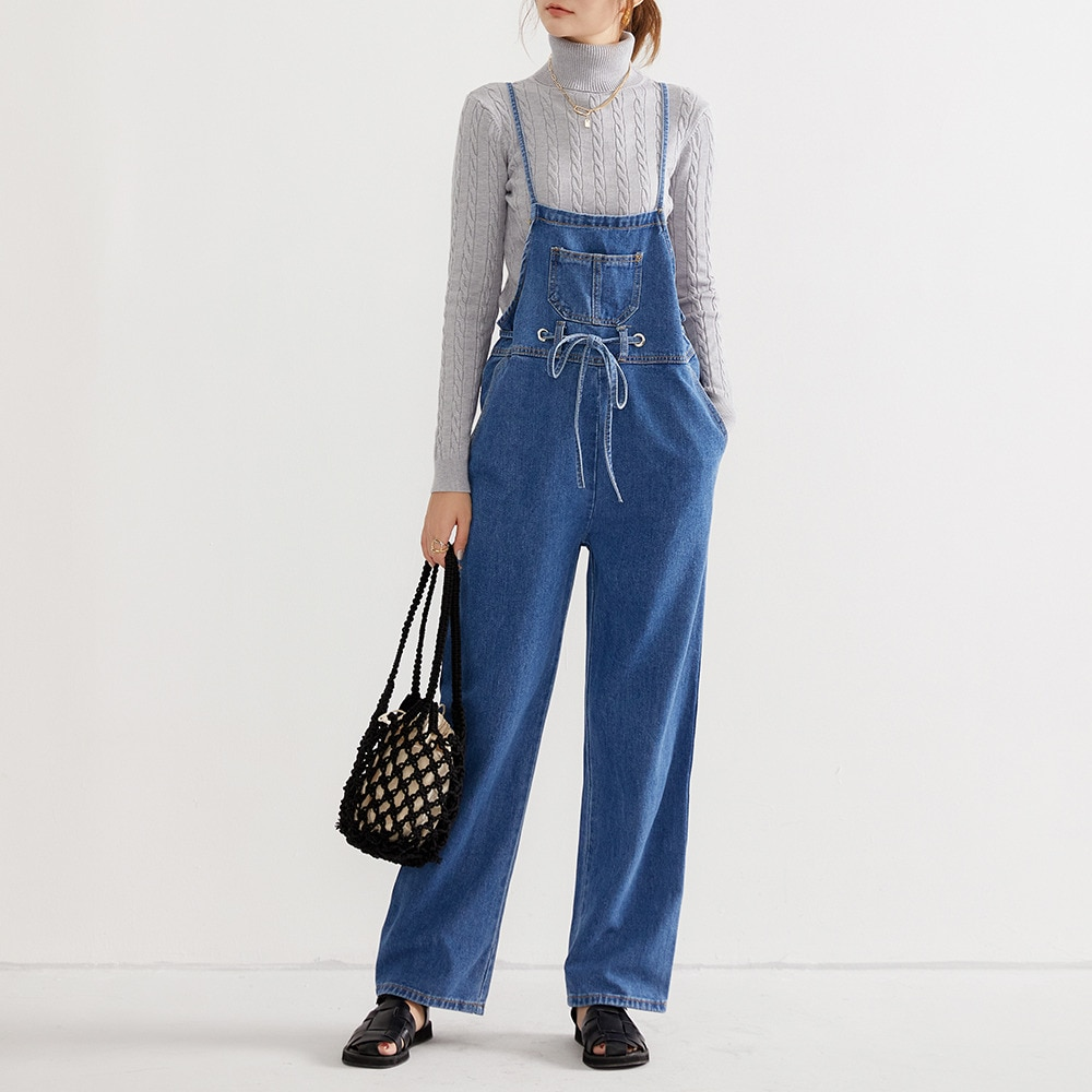 Jesień kombinezon damski 2021 pełnej długości kieszeń sznurowane luźne dorywczo jednokolorowe spodnie koreański styl odzież damska kobiece długie dżinsy