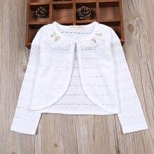 Белый кардиган для девочек, детский хлопковый свитер с длинными рукавами на весну и осень, пальто для девочек 1, 2, 3, 4, 6, 8, От 10 до 11 лет, 2020, 175005