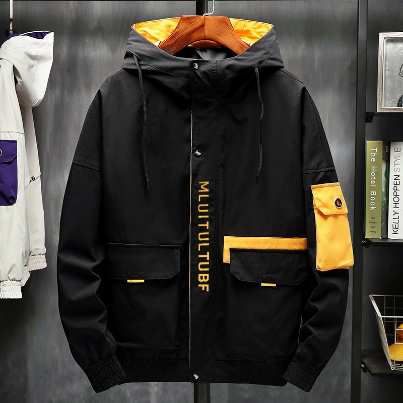 2021 Jacket Men's Spring and Summer Casual Solid Color Tooling Hooded Jacket Men's Slim High-Quality