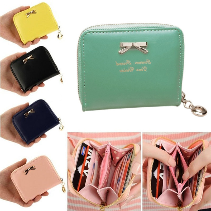 Women's Purse 2019 Dollar Bowknot Clutch Card holder Women Wallets Short Small Bag PU Leather Female