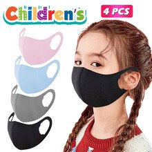4pc Children's Masks Skil Unisex Washable Reusable Resist Soft Multicolor Mouth Cover Halloween Cosp