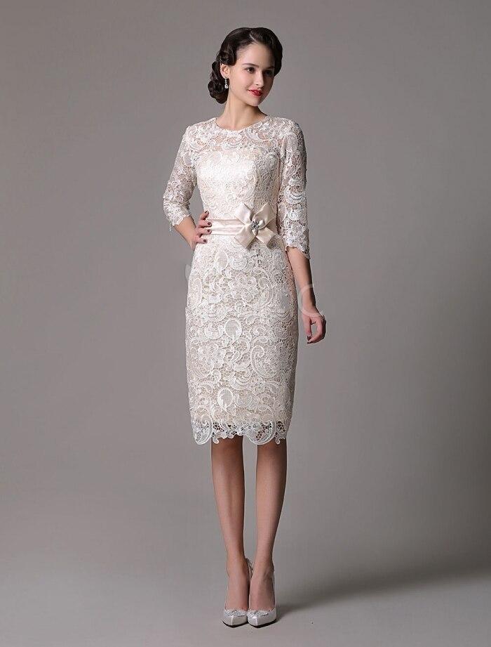 فستان زفاف من الدانتيل ، غمد ، شامبانيا ، كوكتيل ، فستان أم ، نصف كم ، 2020 مع حزام ساتان