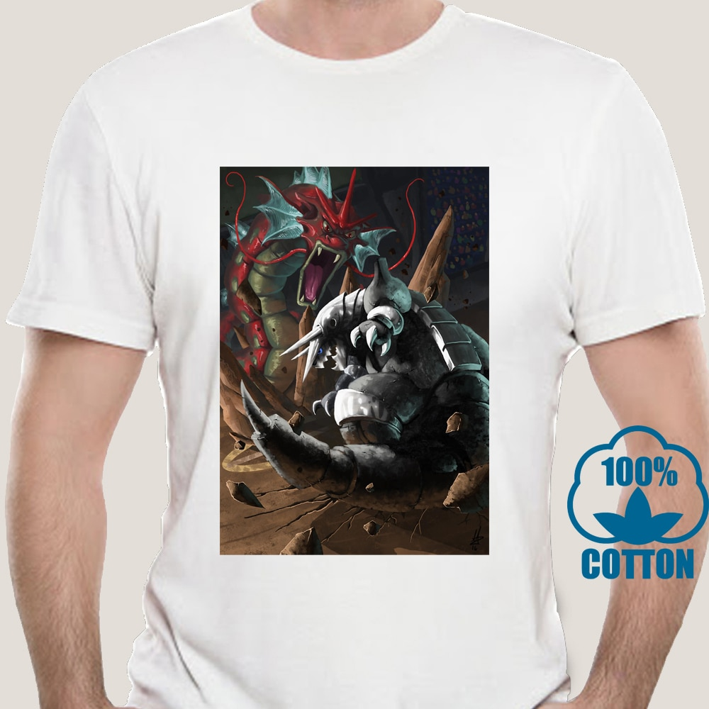 2160k camisa masculina tshirt gráfico aggron vs gyarados unissex t camisa impressa t-shirts topo