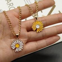 Fashion Simple Classic Sun Flower Sunflower White Yellow Pendant Necklace Women Girls Hip Hop Cute Jewelry Wholesale