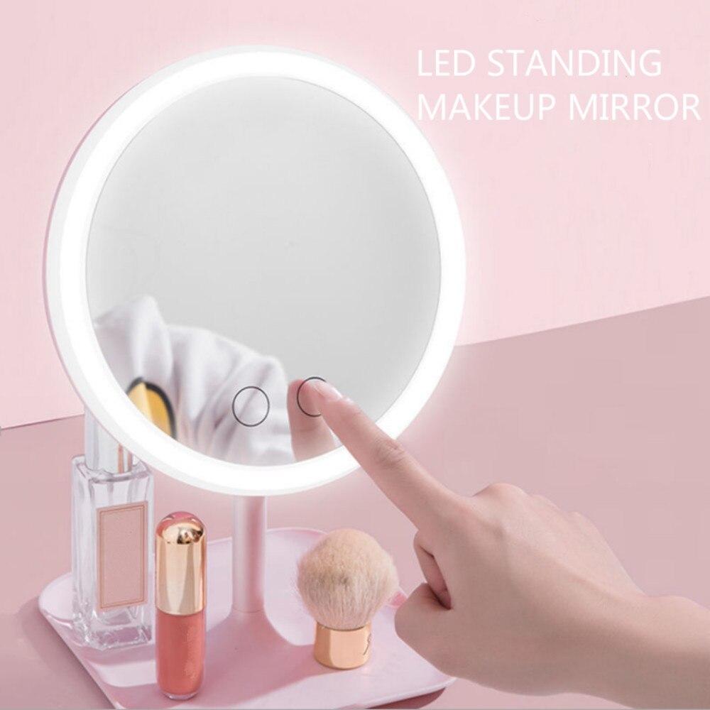 Maquillaje espejo luz LED tocador pequeño espejo de belleza luz espejos vanidad espejo desmontable de Base de maquillaje LED espejo