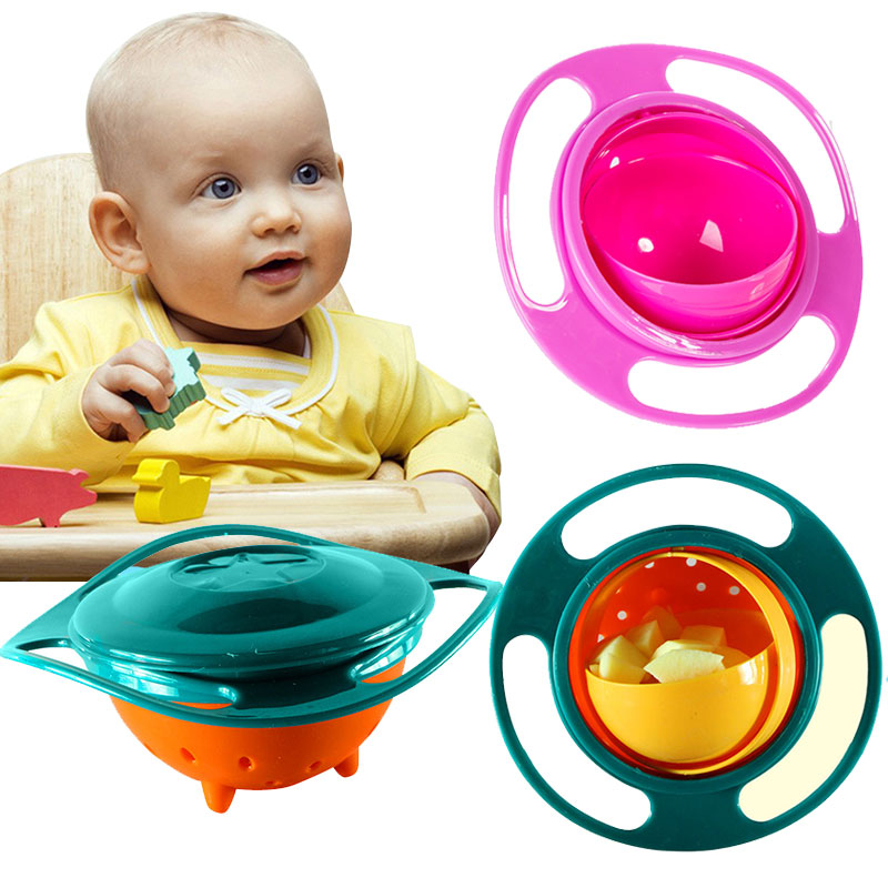 Baby Feeding Bowls 360 Rotate Universal Spill Proof Toddler Bowl with Lid Portable Magic Plates