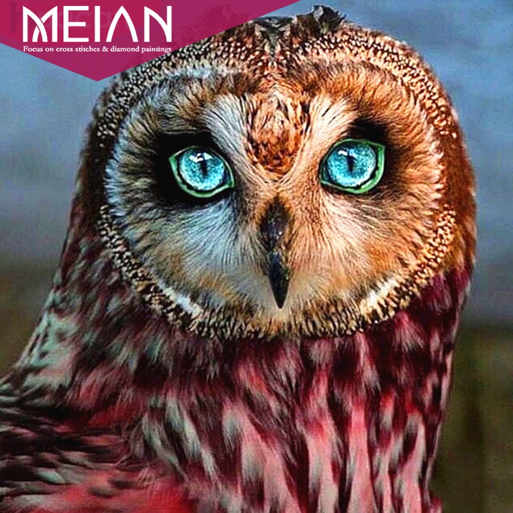 Meian Animal Diamond Embroidery Diamond Painting Owl Full Square/Round Drill 5d DIY  Diamond Mosaic Animal Picture Of Rhinestone