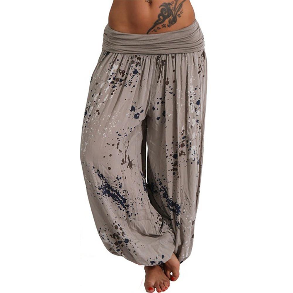 Oeak Summer Beach Bohemian Pants Women High Waist Harem Pants Plus Size Vintage Loose Print Bloomers