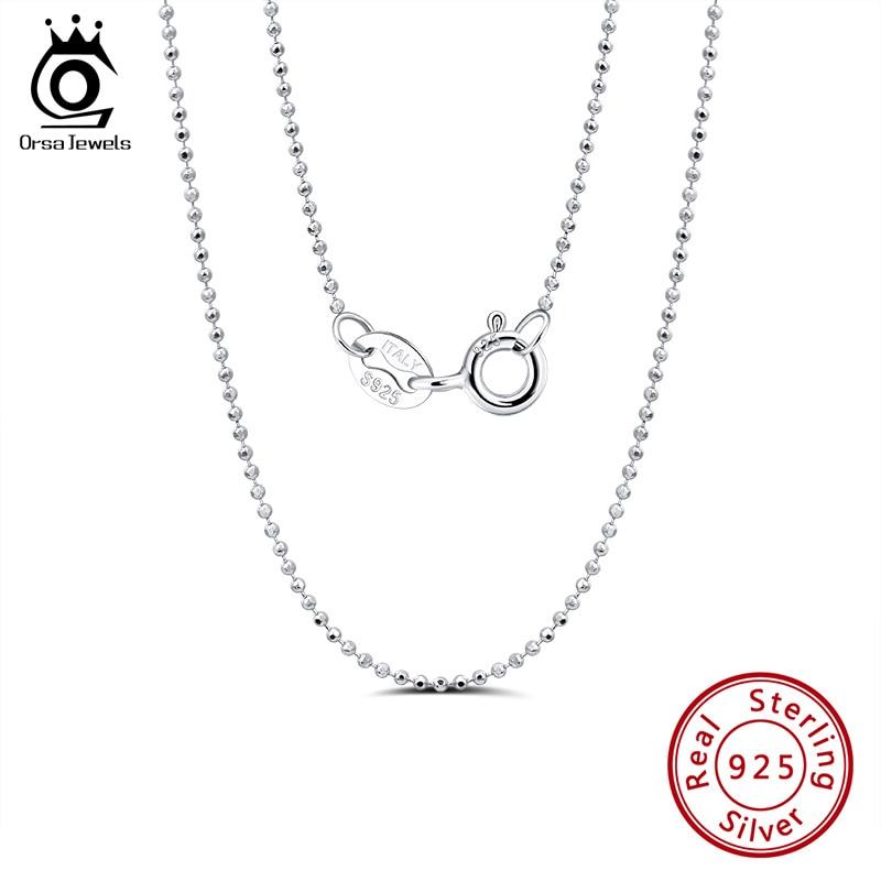 ORSA JEWELS, collar de cadena de lado plateado de plata esterlina 925 con bola de 2,0mm, collares de plata esterlina, joyería de cadenas SC24